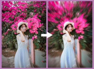 Photoshopで背景に迫力のあるブラー効果をつける